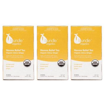 Bundle Organics Nausea Relief Tea Citrus Ginger-Three 20ct boxes