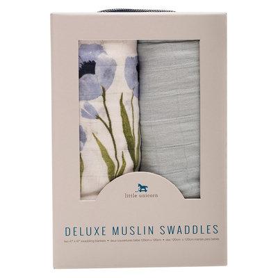 Little Unicorn Deluxe Cotton Muslin Blanket 2pk - Blue Windflower, Multi-Colored