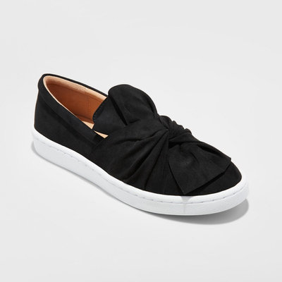 Women's Alloy Slip On Sneakers With a Knot and Bow - Black 5.5, Size: 9