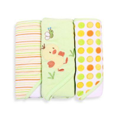 Spasilk Soft Terry Hooded Towel Set, Green Duck, 3-Count