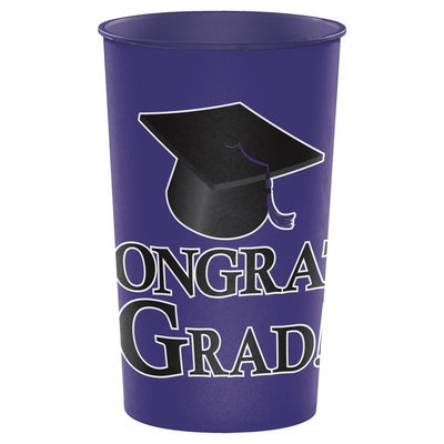 Hoffmaster Group 014399 20 by 1 Count Purple Graduation 22 oz Printed Plastic Cups - Case of 20