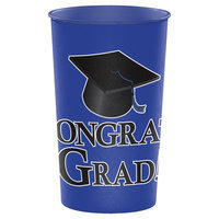 Hoffmaster Group 014395 20 by 1 Count Cobalt Graduation 22 oz Printed Plastic Cups - Case of 20