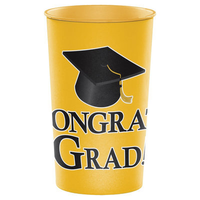 Hoffmaster Group 014397 20 by 1 Count Yellow Graduation 22 oz Printed Plastic Cups - Case of 20