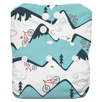 Thirsties Natural All-in-One Snap Diaper, One Size - Mountain Bike