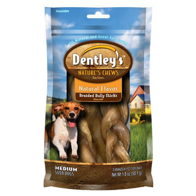 Dentley's® Nature's Chew Braided Bully Stick Dog Treat size: 1.8 Oz