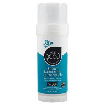 All Good Sunscreen Sun Butter Sport SPF 50 Elemental Herbs 2 oz Stick