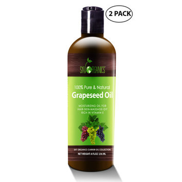 Grapeseed Oil by Sky Organics - 100% Pure, Natural & Cold-Pressed Grapeseed Oil - Ideal for Massage , Cooking and Aromatherapy- Rich in Vitamin A, E and K- Helps Reduce Wrinkles - 8oz (2 Pack)
