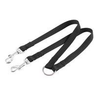 Nylon 15mm Width Walk Double Dog Dual Lobster Clasp End Pet Leash Black