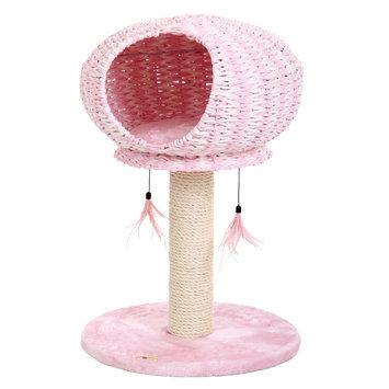 PetPals Perseverance Cat Tree, Pink & Tan