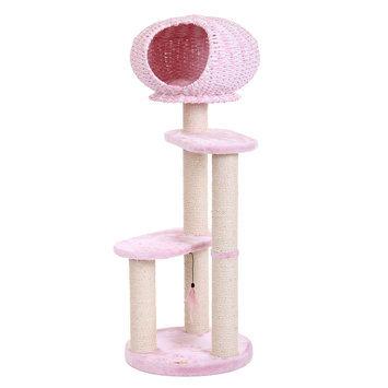 PetPals Conquest Cat Tree, Pink & Tan