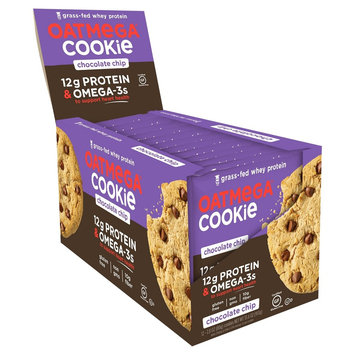 Oatmega Grass Fed Whey Protein Cookie Chocolate Chip - 12Ct
