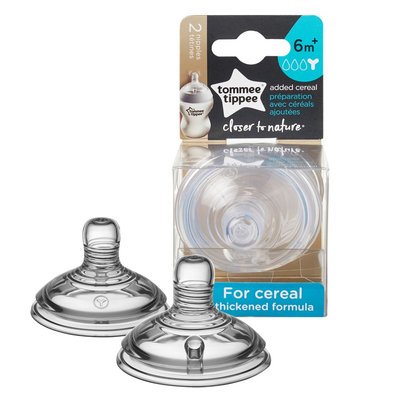Tommee Tippee Ctn Added Cereal Nipple 2 pk, Clear