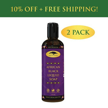(2 Pack) African Black Soap Liquid Body Wash with Coconut Oil and Shea Butter - Great Shampoo and Face Wash - Helps Clear Dry Skin, Acne, Eczema, Psoriasis - Organic Liquid Black Soap from Ghana : Beauty