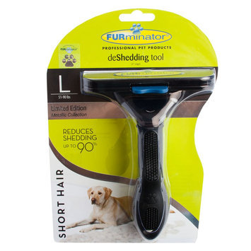 FURminator® deShedding Metallic Collection Short Hair Dog Tool size: Large, Onxy Black