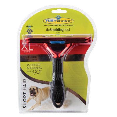 FURminator® deShedding Metallic Collection Short Hair Dog Tool size: X Large, Red