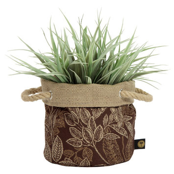 6 Nahla Fabric Floor Planter In Palmetto Espresso - Brown - Bombay Outdoors