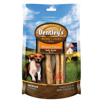 Dentley's® Nature's Chews Natural Flavor Medium Breed Bully Stick Dog Treat size: 8 Count