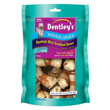 Dentley's® Chicken Small Rawhide Mini Knotted Bones Dog Treat size: 10 Count