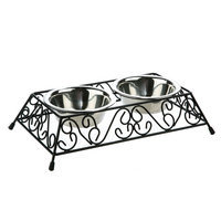 Whisker City, Scroll Double Diner Cat Bowl