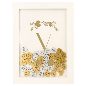 Cathys Concepts Gold Floral Guestbook Dropbox - V, White - V