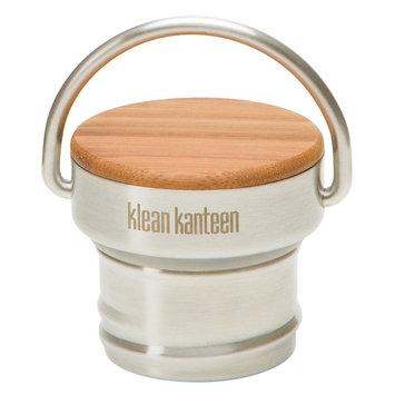 Klean Kanteen Stainless Unibody Bamboo Cap for Kanteen Classic Water Bottle, Stainless/Green