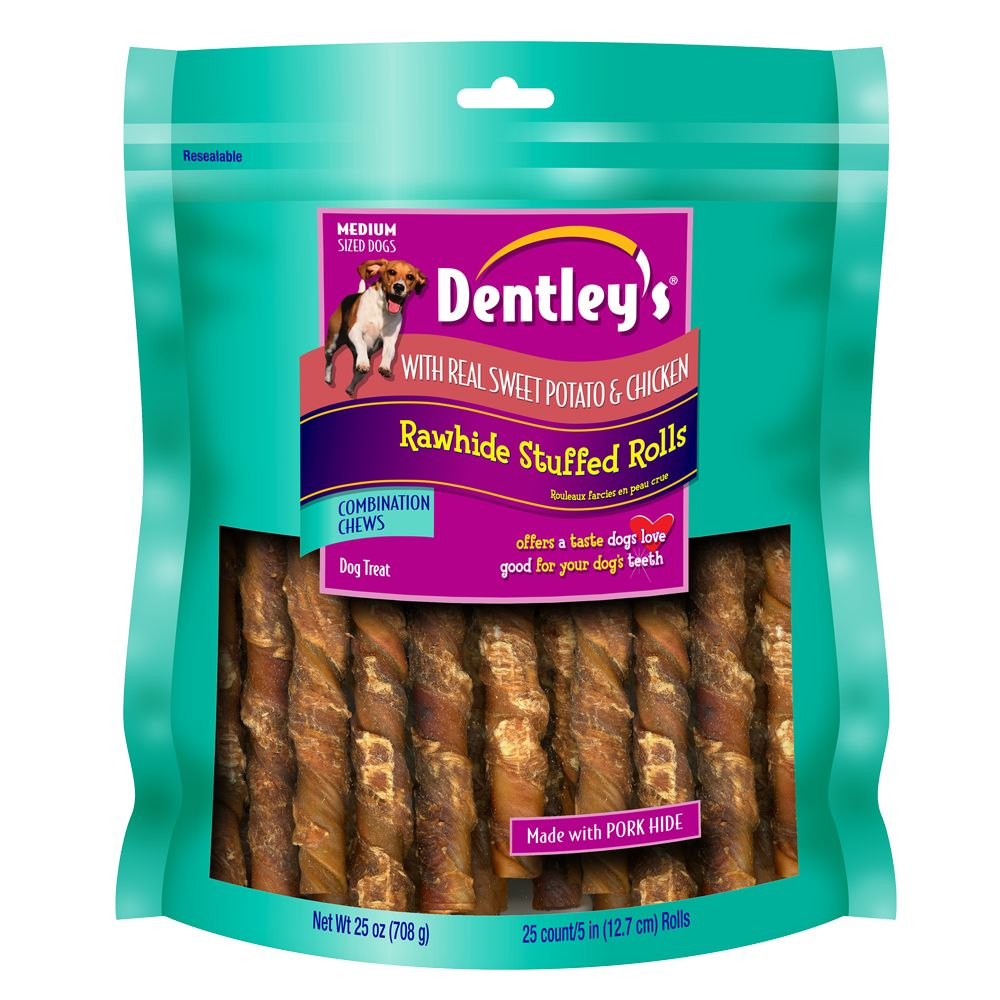 Dentley's® Rawhide Stuffed Rolls Dog Treat - Sweet Potato and Chicken size: 25 Count