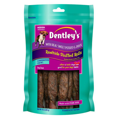 Dentley's® Sweet Potato and Duck Rawhide Stuffed Roll Dog Treat size: 10 Count