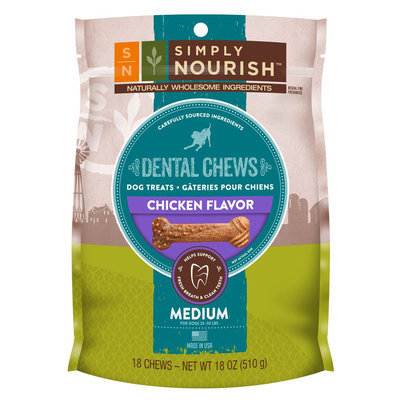 Simply Nourish, Natural Chicken Regular Dental Chew Dog Treat size: 18 Count
