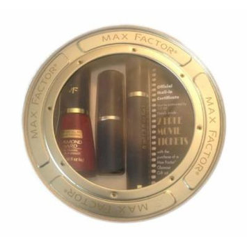 Max Factor Reel Hollywood Vintage Glamour Gift Set: 1 Black /Noir 2000 Calorie Mascara .31 Oz, 1 Red Passion Lasting Color Lipstick .13 Oz, 1 Curtain Call Red .34 Oz, 1 Round Movie Reel Metal Tin