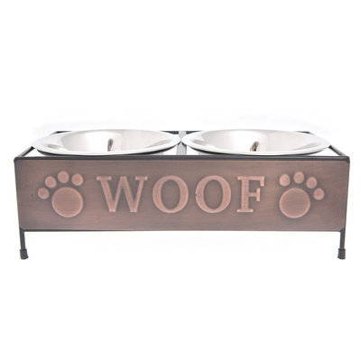 Top Paw® Steel Woof Copper Double Dog Feeder