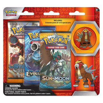 Pokemon, 2017 Trading Cards 3pk Pin Blister featuring Entei
