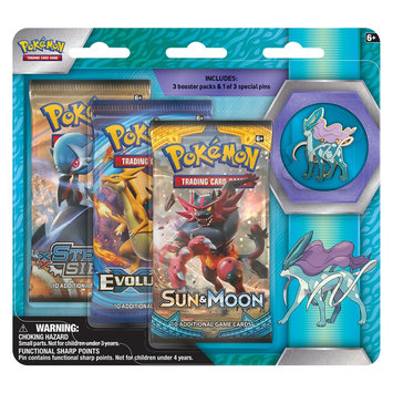 Pokemon, 2017 Trading Cards 3pk Pin Blister featuring Suicune