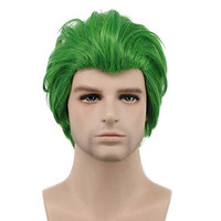 Karlery Men Short Straight Green Wig Halloween Cosplay Wig Anime Costume Wig