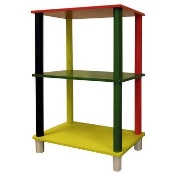 Kids 3 Tier Corner Shelves - Red - Ore International