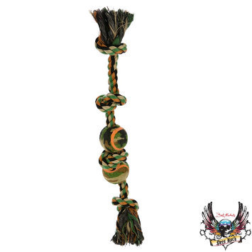 Bret Michaels Pets Rock, Camo Knotted Rope Tennis Ball Dog Toy - Squeaker