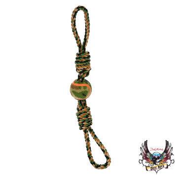 Bret Michaels Pets Rock, Camo Monkey Fist Tennis Ball Dog Toy
