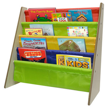 Sorbus Kids Toddler Bookcase with Sling Pockets for Books & Toys (Natural), Multi-Colored