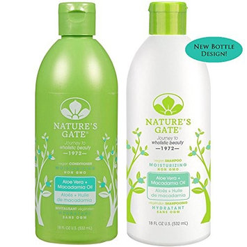 Nature's Gate All Natural Organic Aloe Vera + Macadamia Shampoo and Conditioner Bundle, For Normal to Dry Hair With Jojoba, Borage, Avocado, Panthenol and Nettle, Sulfate Free, 18 fl. oz. each