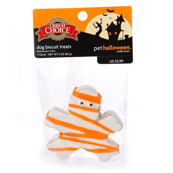 Grreat Choice® Pet Halloween Mummy Biscuit Dog Treat (Color Varies) size: 1 Count
