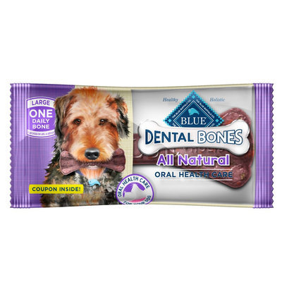 Blue Buffalo Blue, Dental Bones All Natural Large Dental Dog Treat size: 1 Count