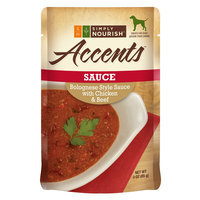 Simply Nourish, Accents Adult Dog Food - Sauce, Bolognese with Chicken and Beef size: 3 Oz