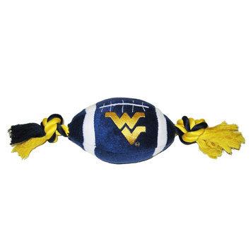 DoggieNation West Virginia Plush Football Dog Toy 0.5 lb