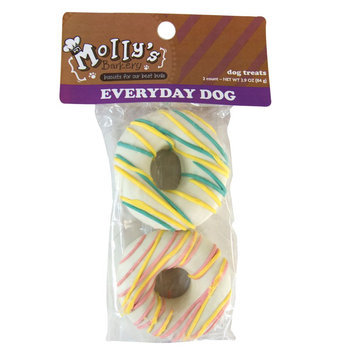 Molly's Barkery Drizzled Donuts Dog Treat (Color Varies) size: 2 Count