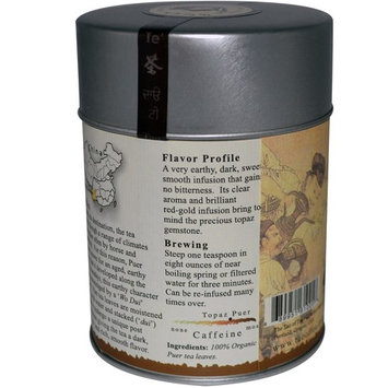 The Tao of Tea, 100% Organic Puer Tea, Topaz Puer, 3.5 oz (100 g) [Flavor : Topaz Puer]