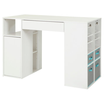 Crea Counter - Height Craft Table with Storage - Pure White - South Shore
