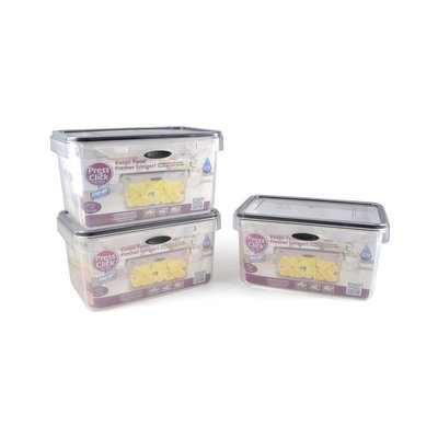Stor-All Solutions Rectangle Press and Click Clear Food Storage Container - 3ct