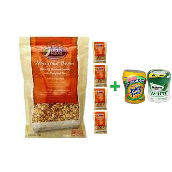 Open Nature Granola Honey Nut Dream - 12 Oz (5 PACK)+ Fruity Chews Gum Watermelon 1/60 Count + Trident Go Cup Spearmint 1/60 Count