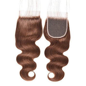 Black Rose Hair Brazilian Virgin Human Hair Body Wave Closures Pre Colored #4 Medium Brown 4x4 Lace Closure with Baby Hair Bleached Knots(14 inch)