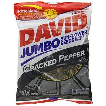 DAVID Roasted and Salted Cracked Pepper Jumbo Sunflower Seeds, 5.25 oz, 12 Pack [Cracked Pepper]