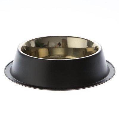 Top Paw® Black Steel Design Dog Bowl, Gold